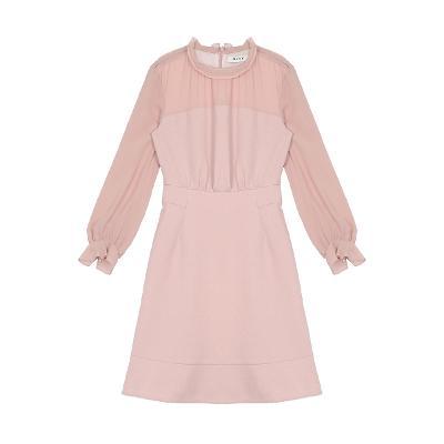 shirring detail flare dress pink